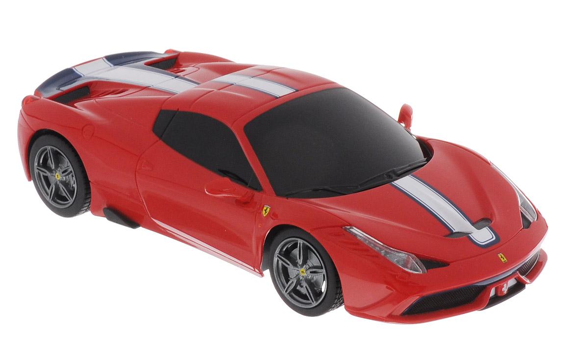 """Радиоуправляемая модель Rastar """"Ferrari 458 Speciale A"""" является точной копией автомобиля Ferrari в масштабе 1/24. Модель обязательно вызовет интерес, как у детей, так и у взрослых. Модель автомобиля изготовлена из высококачественного пластика, шины выполнены из мягкой резины. Управление игрушкой происходит при помощи удобного пульта. Пульт управления работает на частоте 27 MHz. Автомобиль может перемещаться вперед-назад, поворачивать налево-направо, останавливаться. Ваш ребенок увлеченно будет играть с моделью, придумывая различные истории и устраивая соревнования. Порадуйте его таким замечательным подарком! Для работы автомобиля требуются 3 батарейки напряжением 1,5V типа АА (не входят в комплект). Для работы пульта управления требуются 2 батарейки напряжением 1,5V типа АА (не входят в комплект)."""