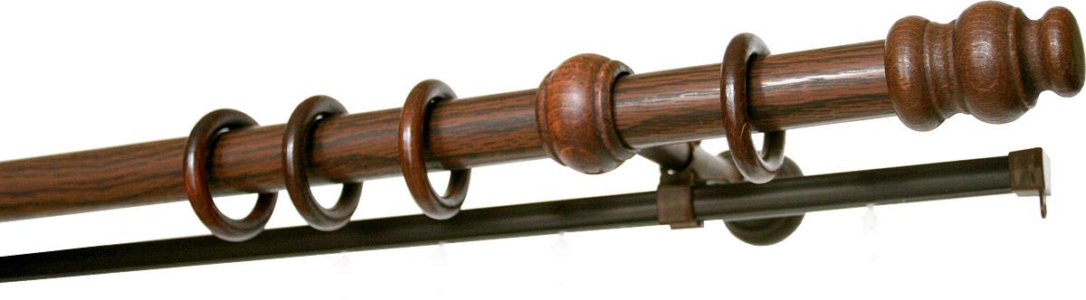 Карниз двухрядный Уют, деревянный, составной, цвет: темная вишня, диаметр 28 мм, длина 2,5 м100-49000000-60Двухрядный круглый карниз Уют Ост выполнен из высококачественного дерева. Подходит для использования двух видов занавесей. Поверхность гладкая. Способ крепления настенное.В комплект входят 2 штанги, 4 наконечника, 3 кронштейна с крепежом и 52 кольца с крючками.Такой карниз будет органично смотреться в любом интерьере.Диаметр карниза: 28 мм.