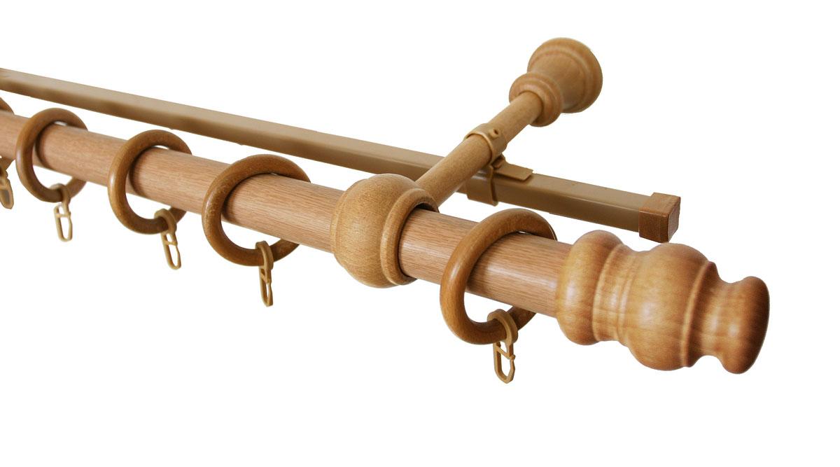 Карниз двухрядный Уют, деревянный, составной, цвет: светлый дуб, диаметр 28 мм, длина 3 мIRK-503Двухрядный круглый карниз Уют выполнен из высококачественного дерева. Подходит для использования двух видов занавесей. Поверхность гладкая. Способ крепления настенное.В комплект входят 2 штанги, 4 наконечника, 3 кронштейна с крепежом и 60 колец с крючками.Такой карниз будет органично смотреться в любом интерьере.Диаметр карниза: 28 мм.