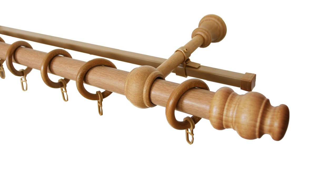 Карниз двухрядный Уют, деревянный, составной, цвет: светлый дуб, диаметр 28 мм, длина 1,5 м28.02ТО.035.150Двухрядный круглый карниз Уют выполнен из высококачественного дерева. Подходит для использования двух видов занавесей. Поверхность гладкая. Способ крепления настенное.В комплект входят 2 штанги, 4 наконечника, 2 кронштейна с крепежом и 32 кольца с крючками.Такой карниз будет органично смотреться в любом интерьере.Диаметр карниза: 28 мм.