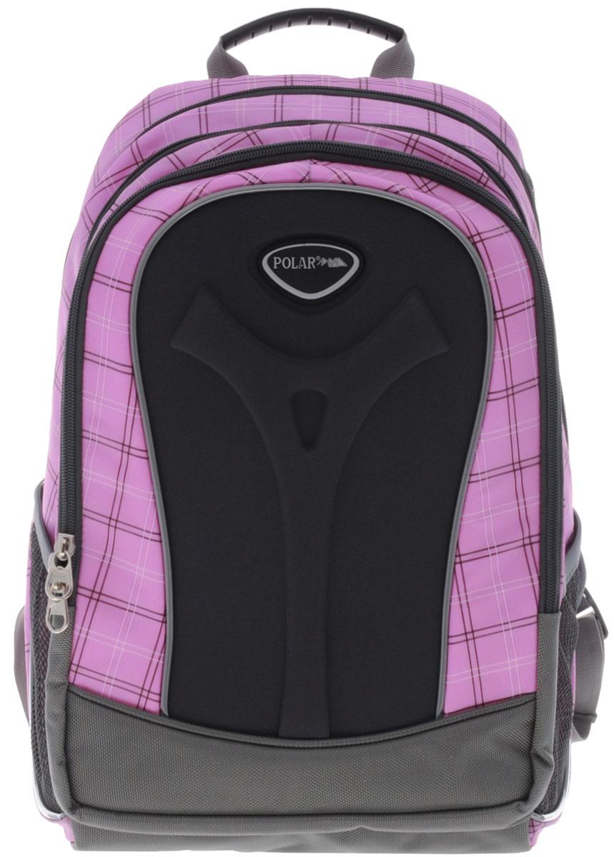 Рюкзак детский городской Polar, 17 л, цвет: розовый. П3068-17MABLSEH10001Полностью вентилируемая и удобная мягкая спинка, мягкие плечевые лямки создают дополнительный комфорт приношении. Основное отделение с внутренним отделением для ноутбука диагональю 14 Большие карманы для аксессуаров и персональных вещей. Два боковых сетчатых кармана под бутылку с водой на резинке. Регулирующая грудная стяжка с удобным фиксатором. Материал Polyester Oxford PU 600D.