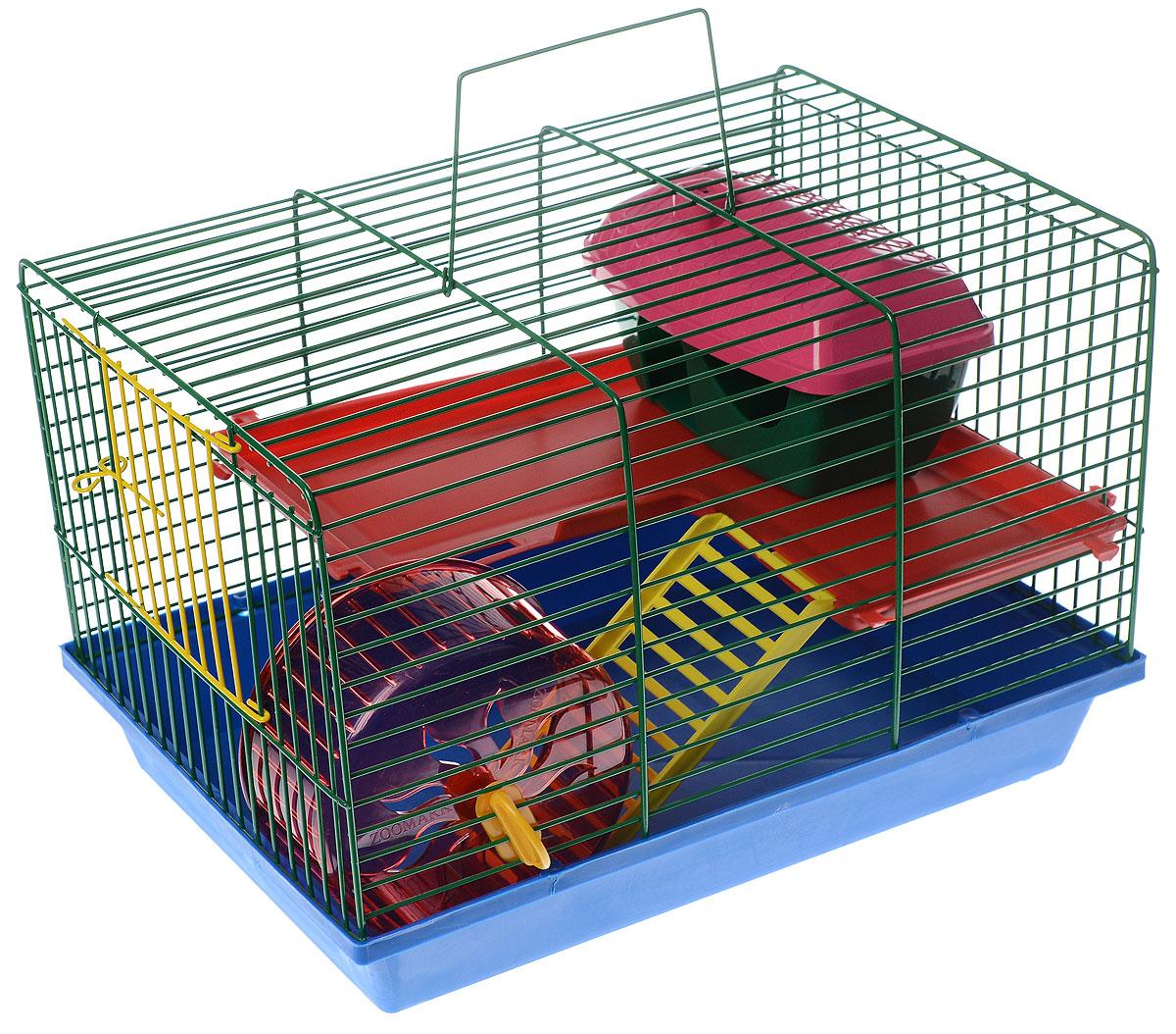 Клетка для грызунов ЗооМарк, 2-этажная, цвет: синий поддон, зеленая решетка, красный этаж, 36 х 23 х 24 см0120710Клетка ЗооМарк, выполненная из полипропилена и металла, подходит для мелких грызунов. Изделие двухэтажное, оборудовано колесом для подвижных игр и пластиковым домиком. Клетка имеет яркий поддон, удобна в использовании и легко чистится. Сверху имеется ручка для переноски. Такая клетка станет уединенным личным пространством и уютным домиком для маленького грызуна.