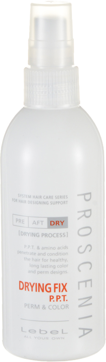 Lebel Proscenia Термальный лосьон Drying Fix 200 млFS-00897«Термальный» лосьон для облегчения расчесывания волос:Облегчает укладку Обеспечивает защиту от термического воздействия Устраняет сухость и ломкость волосПридает шелковистость и блеск Снимает статику Защищает от воздействия УФ-лучей (SPF 15)Идеально подходит для ухода за волосами после любого химического воздействия.