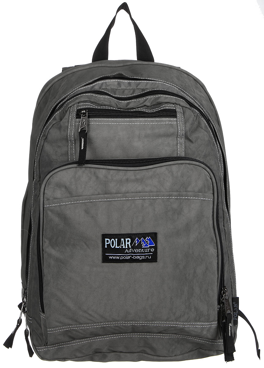 Рюкзак городской Polar, 15 л, цвет: серый. П1224-06П1224-06Вместительный рюкзак для учебы и отдыха. Ортопедическая спинка с вертикальными комбинированными вставками из пены и трикотажной сетки для облегчения циркуляции воздуха, удобные лямки с грудной стяжкой лямок, позволяют снять нагрузку со спины, и делает этот рюкзак необычайно удобным при эксплуатации. Два отделения с дополнительным карманом на молнии (паспорт, документы) и отделениями внутри. Карман с органайзером и два небольших кармана для мелких предметов. Рюкзак выполнен из полиэстера с водоотталкивающей пропиткой