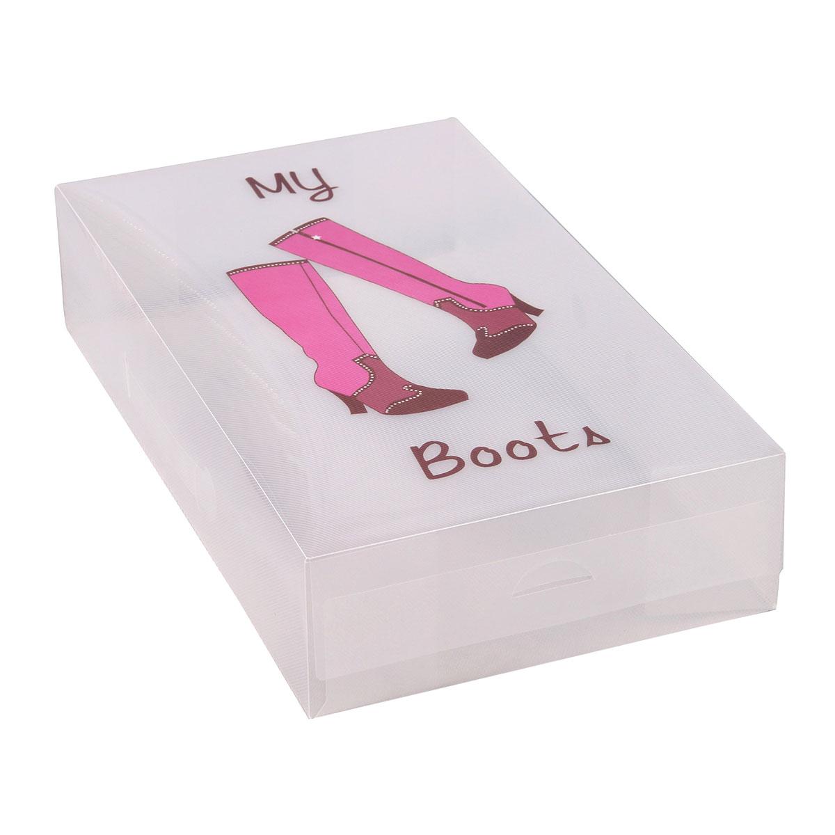Короб для xранения обуви Miolla, 52 x 30 x 11 см. PLS-2RG-D31SУдлиненный короб для обуви от Miolla превратит хранение сапог из головной боли в сплошное удовольствие. Жесткий и вместительный, он создан для обуви с длинным голенищем, которая после сезона ношения обычно неаккуратно убирается вглубь обувного шкафа из-за своих нестандартных размеров. Теперь можно не пренебрегать дорогими вещами, а с умом хранить любые сапоги в удобном и прочном коробе.Размер короба: 52 х 30 х 11 см.