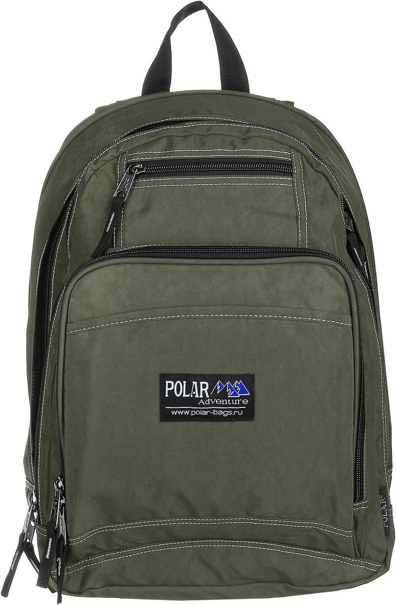 Рюкзак городской Polar, 15 л, цвет: темно-зеленый. П1224-08RivaCase 8460 blackВместительный рюкзак для учебы и отдыха. Ортопедическая спинка с вертикальными комбинированными вставками из пены и трикотажной сетки для облегчения циркуляции воздуха, удобные лямки с грудной стяжкой лямок, позволяют снять нагрузку со спины, и делает этот рюкзак необычайно удобным при эксплуатации. Два отделения с дополнительным карманом на молнии (паспорт, документы) и отделениями внутри. Карман с органайзером и два небольших кармана для мелких предметов. Рюкзак выполнен из полиэстера с водоотталкивающей пропиткой