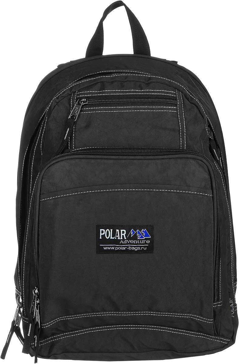 Рюкзак городской Polar, 15 л, цвет: черный. П1224-05MW-1462-01-SR серебристыйВместительный рюкзак для учебы и отдыха. Ортопедическая спинка с вертикальными комбинированными вставками из пены и трикотажной сетки для облегчения циркуляции воздуха, удобные лямки с грудной стяжкой лямок, позволяют снять нагрузку со спины, и делает этот рюкзак необычайно удобным при эксплуатации. Два отделения с дополнительным карманом на молнии (паспорт, документы) и отделениями внутри. Карман с органайзером и два небольших кармана для мелких предметов. Рюкзак выполнен из полиэстера с водоотталкивающей пропиткой