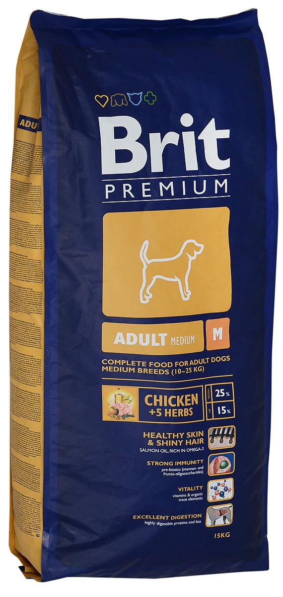 Корм сухой Brit Premium Adult M для взрослых собак средних пород, с курицей и травами, 15 кг70005562Сухой корм Brit Premium Adult M - полнорационный корм для взрослых собак средних пород (10-25 кг). Рекомендуется для следующих пород: австралийская овчарка, басенджи, бассет-хаунд, бигль, бордер колли, бретань, бультерьер, кокер-спаниель, колли, английский бульдог, английский спрингер-спаниель, финская гончая, французский бульдог, немецкий пинчер, норвежская серая лосиная лайка, польская охотничья собака, пули, пудель, самоедская собака, шнауцер, шарпей, сиба-ину, испанская водяная собака, стаффордширский бультерьер, вельш-корги. Состав: мука из мяса курицы (41 %), кукуруза, пшеница, рис, куриный жир (консервированный токоферолами), масло лосося, пивные дрожжи, натуральные ароматизаторы, сушеные яблоки, минеральные вещества, экстракт из трав и фруктов (300 мг/кг), мананоолигосахариды (150 мг/кг), фруктоолигосахариды (100 мг/кг), экстракт юкки шидигеры (80 мг/кг), органическая Е4 медь, органический Е6 цинк, органический селен. Аналитические составляющие: сырой протеин 25,0%, сырой жир 15,0%, влага 10,0%, сырая зола 6,4%, необработанные волокна 2,2%, кальций 1,4%, фосфор 1,0%. Энергетическая ценность: 4 143 ккал/кг. Пищевые добавки: витамин A 15 000 МЕ, витамин D3 1 500 МЕ, витамин E (q-токоферол) 500 мг, Е1 железо 80 мг, Е6 цинк 70 мг, Е5 марганец 36 мг, Е4 медь 20 мг, Е2 йод 0,65 мг, Е8 селен 0,2 мг. Вес: 15 кг. Товар сертифицирован.