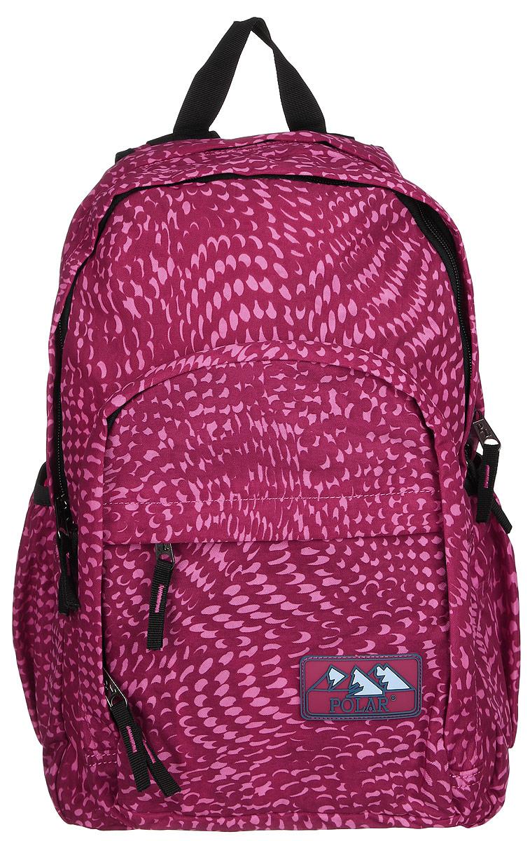 Рюкзак городской Polar, 15 л, цвет: розовый. П3901-29MABLSEH10001Городской рюкзак с модным дизайном. Полностью вентилируемая и удобная мягкая спинка, мягкие плечевые лямки создают дополнительный комфорт при ношении. Центральный отсек для персональных вещей и документов A4 на двухсторонних молниях для удобства. Маленький карман для mp3, CD плеера. Два боковых кармана под бутылки с водой на резинке. Регулирующая грудная стяжка с удобным фиксатором. Регулирующий поясной ремень, удерживает плотно рюкзак на спине, что очень удобно при езде на велосипеде или продолжительных походах. Система циркуляции воздуха Air. Материал Polyester PU 600D.