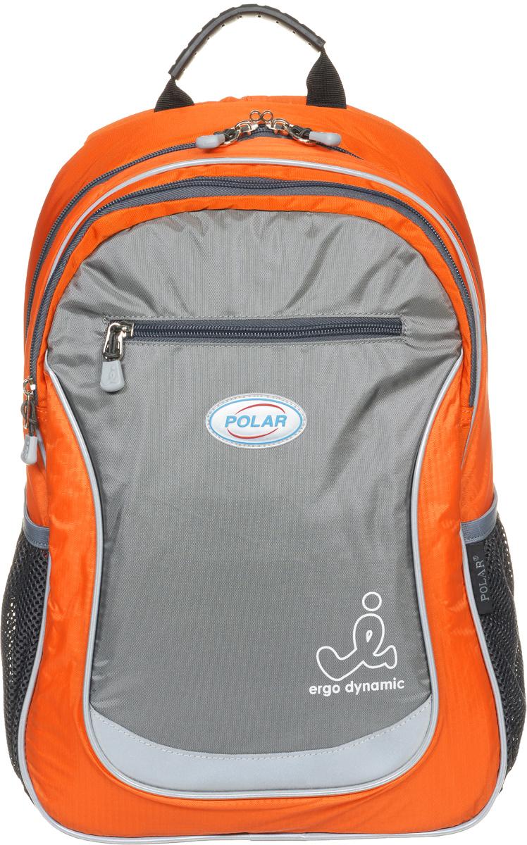 Рюкзак детский городской Polar, 17,5 л, цвет: оранжевый. П0087-0280154_2215Школьный рюкзак Polar. У рюкзака 2 отделения и несколько карманов для мелких принадлежностей. В большом отделение имеется карман под ноутбук диагональю 14. Спинка эргономичной формы, повторяет контур спины ребенка, тем самым равномерно распределяет нагрузку на позвоночник. Полумягкое дно для безопасности ношения. С обеих сторон имеются карманы для бутылок с водой. Светоотражатели спереди и сзади школьного рюкзака. Гибкая петля для того, чтобы подвесить ранец на крючок. Подходит для 1-6 классов.