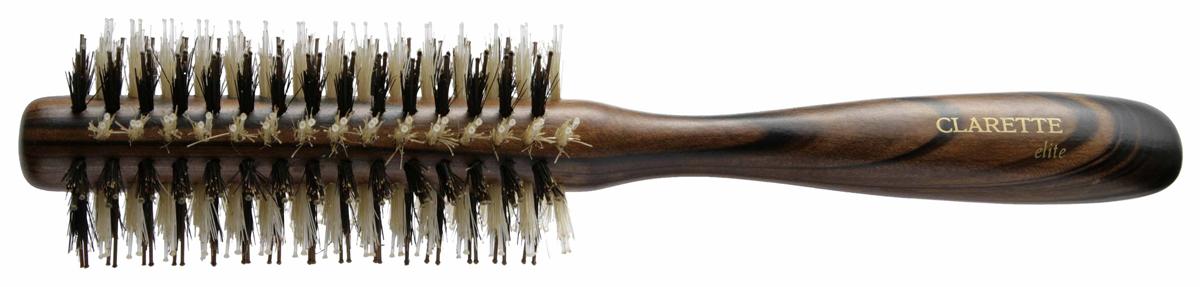 Clarette Щетка для волос круглая, цвет: коричневыйCPB 629Clarette Elite представляет серию Шоколад. Это интересная коллекция инструментов по уходу за волосами. Она несомненно понравится покупателям, которые ценят стиль и качество. Инструменты Коллекции изготовлены из натурального дерева, имеющего оригинальный окрас. Натуральная щетина дикого кабана придает волосам блеск, предостерегает ломкость и сечение волос. Уникально расположенная V-образная пластиковая щетина позволяет более тщательно распутывать и прочесывать волосы, быстрей и эффективней, придавая им необходимую форму при укладке. Инструменты предназначены как для домашнего, так и для профессионального использования.