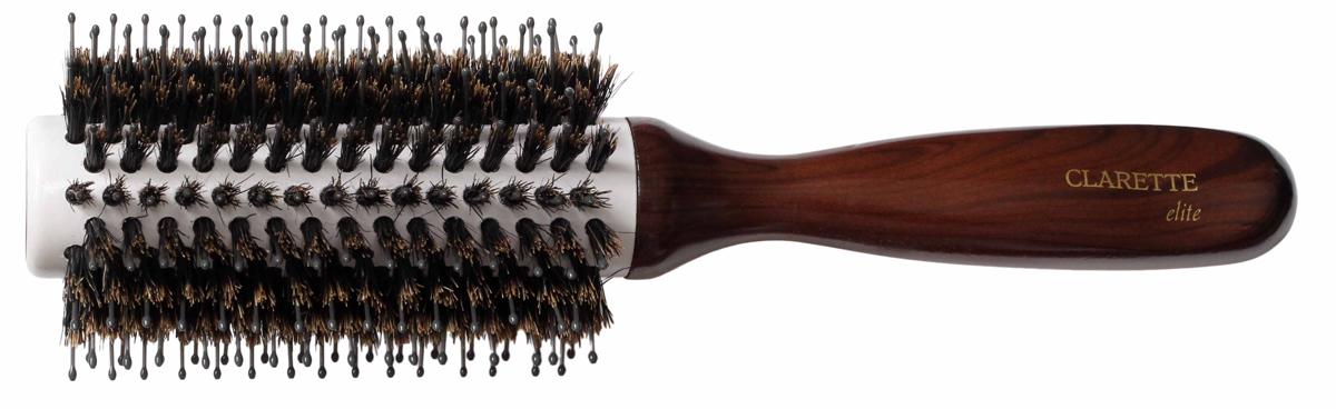 Clarette Щетка для волос круглая, цвет: коричневыйCEB 411Clarette Elite представляет серию Шоколад. Это интересная коллекция инструментов по уходу за волосами. Она несомненно понравится покупателям, которые ценят стиль и качество. Инструменты Коллекции изготовлены из натурального дерева, имеющего оригинальный окрас. Натуральная щетина дикого кабана придает волосам блеск, предостерегает ломкость и сечение волос. Пластиковая щетина позволяет более тщательно распутывать и прочесывать волосы, придавая им необходимую форму при укладке. Инструменты предназначены как для домашнего, так и для профессионального использования.Диаметр щетки (без учета щетины): 2,8 см.Диаметр щетки (с учетом щетины): 6,5 см.