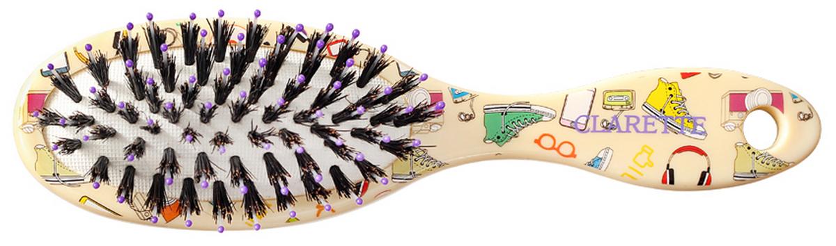Clarette Щетка для волос компакт со смешанной щетиной желтая с принтомCPB 615Clarette представляет специально разработанную для детей коллекцию Clarette Kids Щетка компакт со смешанной щетиной Натуральная щетина дикого кабана предает волосам блеск, предотвращает ломкость и сечеиие волос . Пластиковые зубья с массажными шариками на концах обеспечивают качественный массаж кожи головы, идеально прочесывает волосы