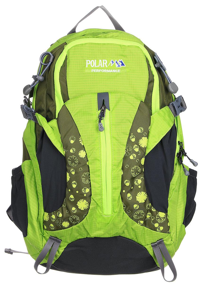 Рюкзак городской Polar, 14,5 л, цвет: зеленый. П1552-09Z90 blackЖенский компактный рюкзак с модным дизайном. Полностью вентилируемая спинка с системой Aircomfort, мягкие плечевые лямки создают дополнительный комфорт при ношении. Центральный отсек для персональных вещей и карманом для папки А4. Большой передний карман с органайзером, внутри удобный мягкий пенал на карабине. Два боковых кармана под бутылку с водой на резинке. Регулирующая грудная стяжка с удобным фиксатором. Регулирующий поясной ремень, удерживает плотно рюкзак на спине, что очень удобно при езде на велосипеде или продолжительных походах.