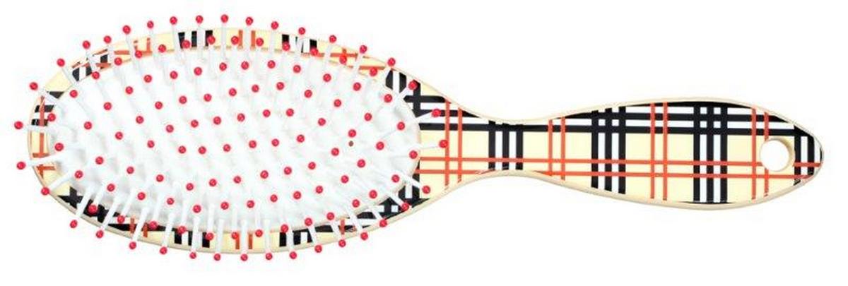 Clarette Щетка для волос на подушке овальная, цвет: бежевый клеткаMP59.3DClarette представляет новую коллекцию щеток для волос-Ассорти. Это разнообразие дизайнов, включающие забавные детские принты и принт в клетку. Пластмассовые зубья с массажными шариками на концах оказывают легкое массажное воздействие на кожу головы
