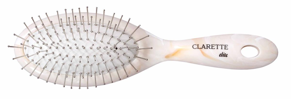 Clarette Щетка для волос на подушке с металлическими зубцами компакт, цвет: бежевыйSatin Hair 7 BR730MNКоллекция Clarette Elite Легкий Мрамор представляет элитную серию щеток и брашингов для расчесывания и укладки. волос любого типа. Коллекция выполена в стиле мрамора и выглядит очень элегантно. Изготовлена из высокотехнологичичного облегченного пластика. . Благодаря мягкости подушки, идеально подходит для расчесывания тонких, ослабленных волос. Металлические зубья с массажными шариками на концах обеспечивают деликатный массаж кожи головы, стимулируя рост волос. Уникальная форма металлических зубьев защищает их от продавливания, тем самым увеличивая срок службы щетки. Компактный размер щетки делает ее удобной в дороге. Легко помещается в дамской сумочке
