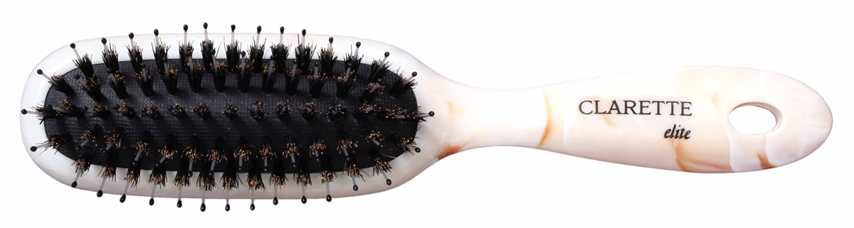 Clarette Щетка для волос на подушке со смешанной щетиной универсальная, цвет: бежевыйSatin Hair 7 BR730MNКоллекция Clarette Elite Легкий Мрамор представляет элитную серию щеток и брашингов для расчесывания и укладки. волос любого типа. Коллекция выполена в стиле мрамора и выглядит очень элегантно. Изготовлена из высокотехнологичичного облегченного пластика. Натуральная щетина дикого кабана придает волосам блеск, предотвращает ломкость и сечение волос.