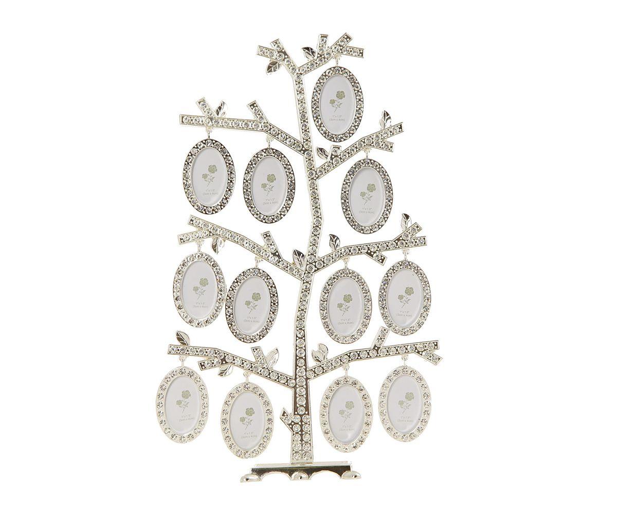 Фоторамка HomeMaster Фамильное дерево, цвет: серебристый, 18 х 7 х 27 смNLED-441-7W-BKНастольная фоторамка HomeMaster Семейное дерево, выполненная из металла с серебряно-никелевым покрытием, позволит вам украсить помещение оригинальным образом. Композиция представляет собой ствол дерева, на ветках которого расположены небольшие кольца для подвешивания небольших овальных фоторамок разного размера (входят в комплект). Ствол дерева и фоторамки украшены стразами. Декоративная композиция позволит сохранить на память изображения дорогих вам людей и интересных событий вашей жизни. Для 12 фотографий: 4 х 4 см.
