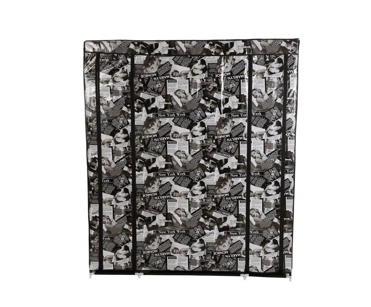 """Фото Гардероб для хранения одежды """"HomeMaster"""", цвет: черный, белый, 150 x 45 x 175 см. Купить в РФ"""