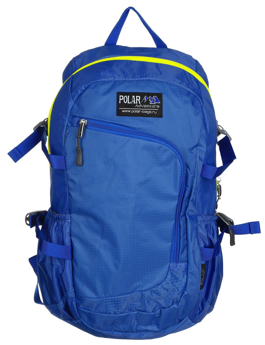 Рюкзак городской Polar, 17 л, цвет: голубой. П2171-1080414_7000Городской рюкзак Polar с модным дизайном изготовлен из водоотталкивающей ткани RipStop. Имеет один большой отдел, внутри которого расположен небольшой карман на молнии и большой открытый карман на резинке. Снаружи накладной карман на молнии с расположенным внутри органайзером. По бокам расположены карманы на резинках. Также имеются боковые стяжки для регулирования объема рюкзака. Удобная мягкая спинка, мягкие плечевые лямки создают дополнительный комфорт при ношении. На лямках расположена грудная стяжка, регулируемая по необходимой высоте и длине. Сверху петля для переноски.