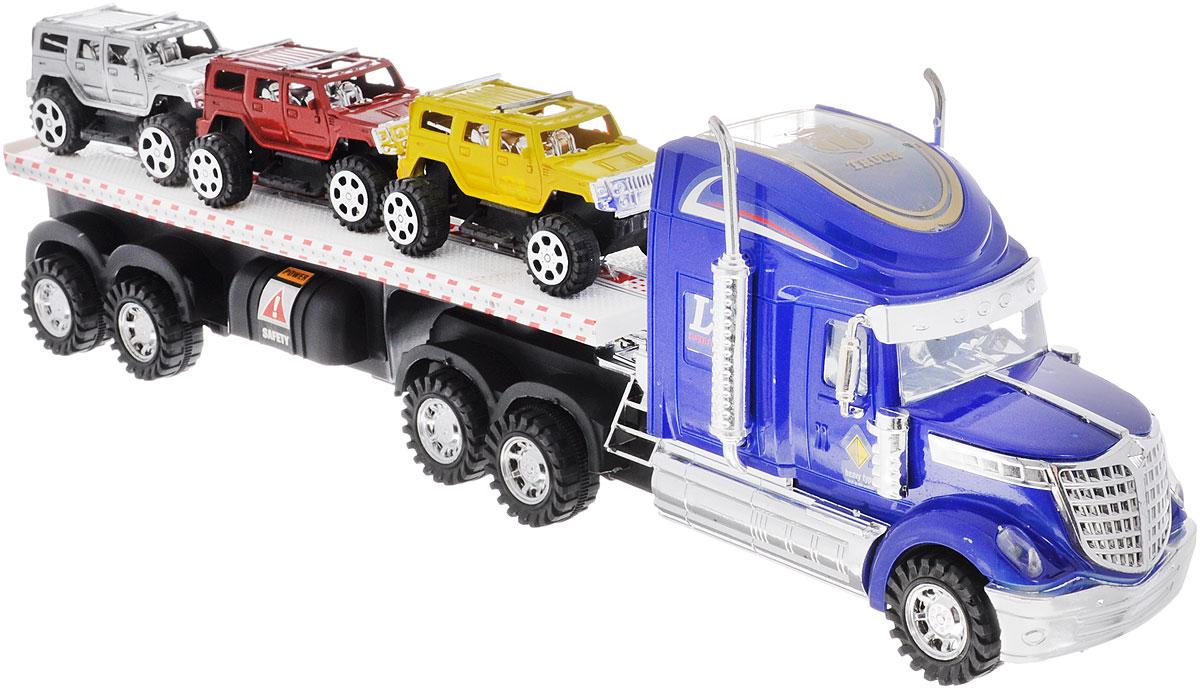 Junfa Toys Автовоз инерционный с 3 машинками цвет синий junfa toys автовоз с экскаватором и самосвалом цвет синий