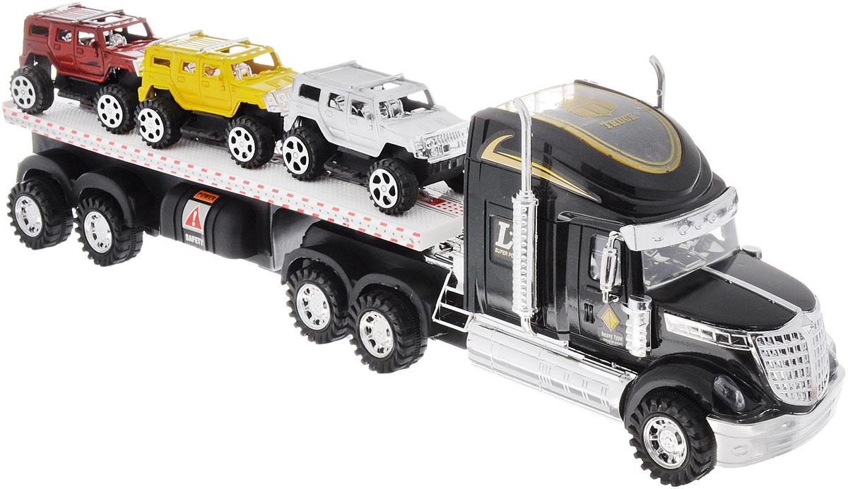 Junfa Toys Автовоз инерционный с 3 машинками цвет черный junfa toys автовоз с экскаватором и самосвалом цвет синий