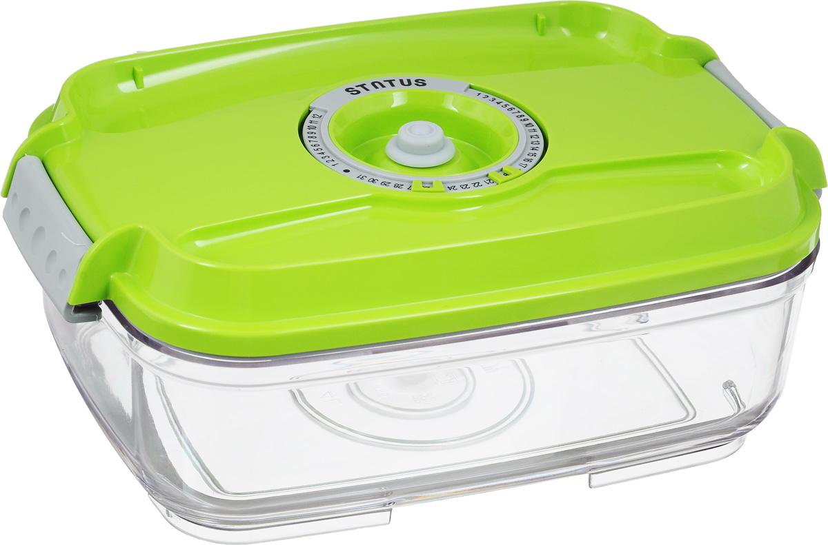 Контейнер вакуумный Status, с индикатором даты срока хранения, цвет: прозрачный, салатовый, 1,4 лVT-1520(SR)Вакуумный контейнер Status выполнен из хрустально-прозрачного прочного тритана. Благодаря вакууму, продукты не подвергаются внешнему воздействию, и срок хранения значительно увеличивается, сохраняют свои вкусовые качества и аромат, а запахи в холодильнике не перемешиваются. Допускается замораживание до -21°C, мойка контейнера в посудомоечной машине, разогрев в СВЧ (без крышки). Рекомендовано хранение следующих продуктов: макаронные изделия, крупа, мука, кофе в зёрнах, сухофрукты, супы, соусы. Контейнер имеет индикатор даты, который позволяет отмечать дату конца срока годности продуктов.Размер контейнера (с учетом крышки): 22,5 х 15,5 х 8,5 см.