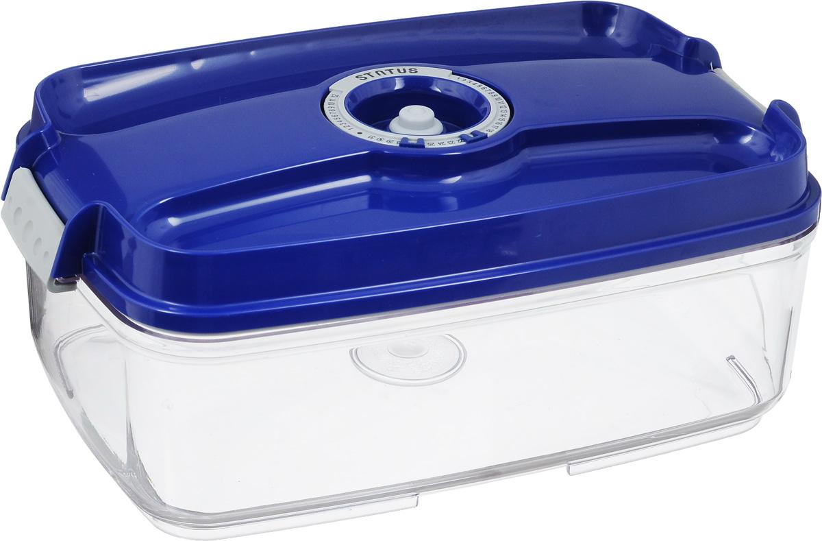 Контейнер вакуумный Status, с индикатором даты срока хранения, цвет: прозрачный, синий, 3 л21395599Вакуумный контейнер Status выполнен из хрустально-прозрачного прочного тритана. Благодаря вакууму, продукты не подвергаются внешнему воздействию, и срок хранения значительно увеличивается, сохраняют свои вкусовые качества и аромат, а запахи в холодильнике не перемешиваются. Допускается замораживание до -21°C, мойка контейнера в посудомоечной машине, разогрев в СВЧ (без крышки). Рекомендовано хранение следующих продуктов: макаронные изделия, крупа, мука, кофе в зёрнах, сухофрукты, супы, соусы. Контейнер имеет индикатор даты, который позволяет отмечать дату конца срока годности продуктов.Размер контейнера (с учетом крышки): 29,5 х 18,5 х 11,5 см.