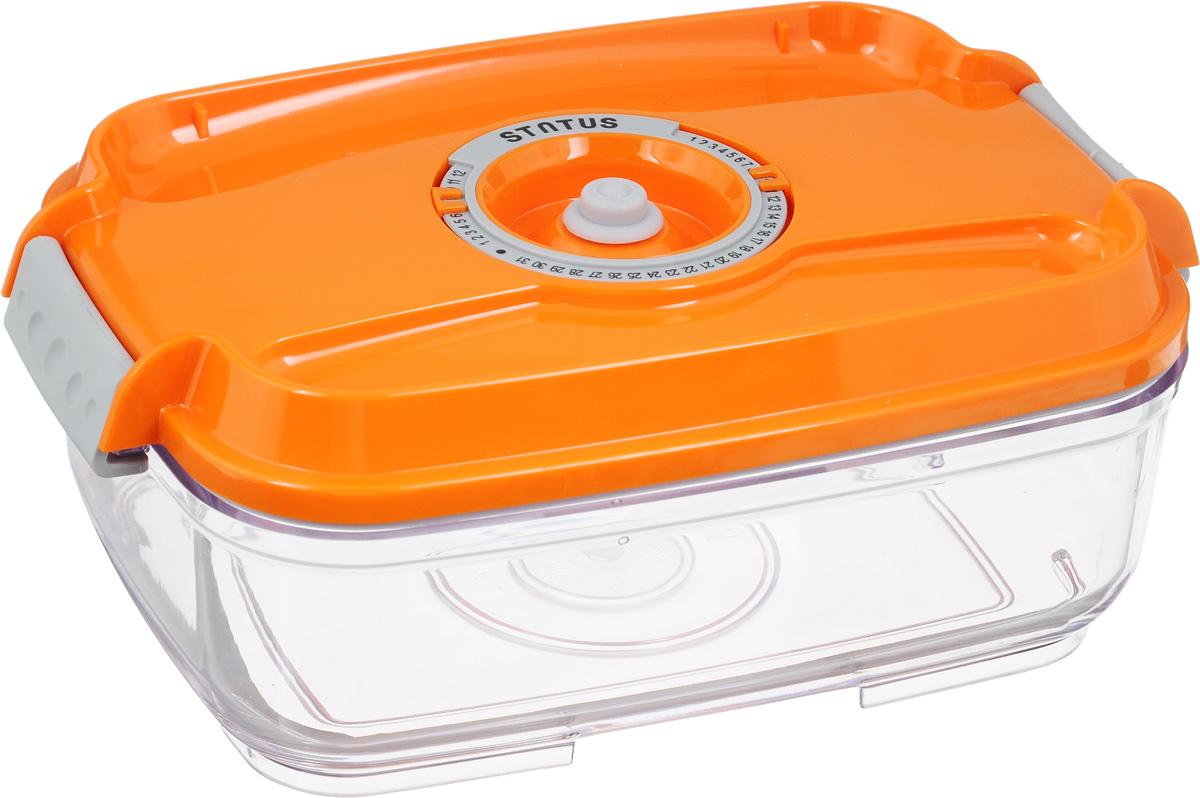 Контейнер вакуумный Status, с индикатором даты срока хранения, цвет: прозрачный, оранжевый, 1,4 лVT-1520(SR)Вакуумный контейнер Status выполнен из хрустально-прозрачного прочного тритана. Благодаря вакууму, продукты не подвергаются внешнему воздействию, и срок хранения значительно увеличивается, сохраняют свои вкусовые качества и аромат, а запахи в холодильнике не перемешиваются. Допускается замораживание до -21°C, мойка контейнера в посудомоечной машине, разогрев в СВЧ (без крышки). Рекомендовано хранение следующих продуктов: макаронные изделия, крупа, мука, кофе в зёрнах, сухофрукты, супы, соусы. Контейнер имеет индикатор даты, который позволяет отмечать дату конца срока годности продуктов.Размер контейнера (с учетом крышки): 22,5 х 15,5 х 8,5 см.