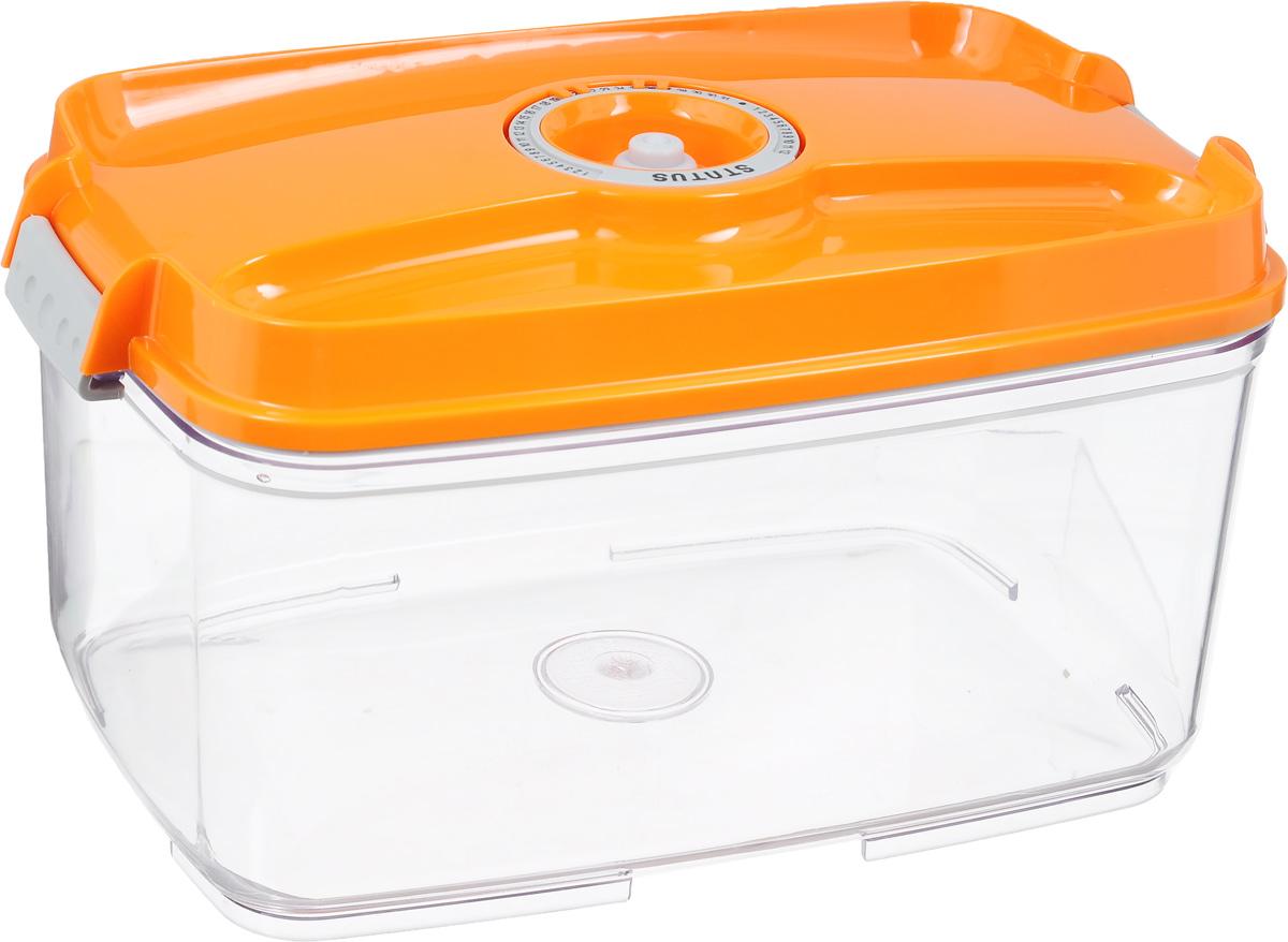 Контейнер вакуумный Status, с индикатором даты срока хранения, цвет: прозрачный, оранжевый, 4,5 лVAC-REC-45 OrangeВакуумный контейнер Status выполнен из хрустально-прозрачного прочного тритана. Благодаря вакууму, продукты не подвергаются внешнему воздействию, и срок хранения значительно увеличивается, сохраняют свои вкусовые качества и аромат, а запахи в холодильнике не перемешиваются. Допускается замораживание до -21°C, мойка контейнера в посудомоечной машине, разогрев в СВЧ (без крышки). Рекомендовано хранение следующих продуктов: макаронные изделия, крупа, мука, кофе в зёрнах, сухофрукты, супы, соусы. Контейнер имеет индикатор даты, который позволяет отмечать дату конца срока годности продуктов.Размер контейнера (с учетом крышки): 29,5 х 18,5 х 15,5 см.