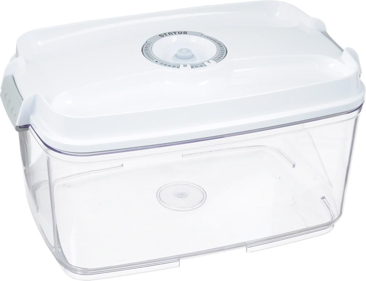 Контейнер вакуумный Status, с индикатором даты срока хранения, цвет: прозрачный, белый, 4,5 лVT-1520(SR)Вакуумный контейнер Status выполнен из хрустально-прозрачного прочного тритана. Благодаря вакууму, продукты не подвергаются внешнему воздействию, и срок хранения значительно увеличивается, сохраняют свои вкусовые качества и аромат, а запахи в холодильнике не перемешиваются. Допускается замораживание до -21°C, мойка контейнера в посудомоечной машине, разогрев в СВЧ (без крышки). Рекомендовано хранение следующих продуктов: макаронные изделия, крупа, мука, кофе в зёрнах, сухофрукты, супы, соусы. Контейнер имеет индикатор даты, который позволяет отмечать дату конца срока годности продуктов.Размер контейнера (с учетом крышки): 29,5 х 18,5 х 15,5 см.