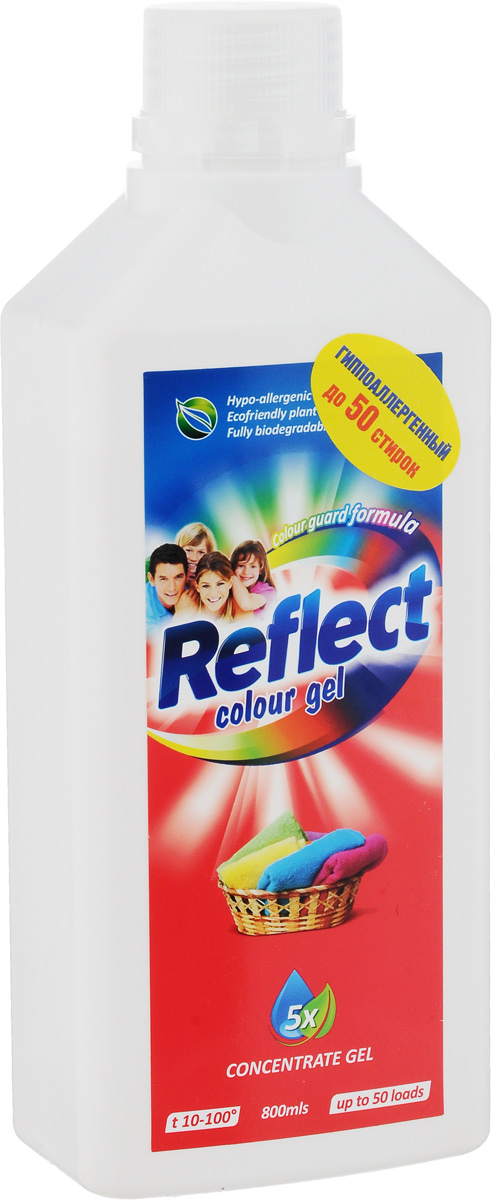 Гель для стирки цветного белья Reflect Colour, концентрированный, 800 мл215615Гель Reflect Colour является средством для стирки как для цветного белья, так и для темного белья. Содержит специальный закрепитель цвета, препятствующий перетеканию темных тонов на светлые. Гель отлично отстирывает различные загрязнения. Гель Reflect Colour удобен при хранении и транспортировке, он более концентрированный, поэтому с помощью одной бутылки геля вы сможете отстирать больше вещей, чем обычным порошком. Подходит как для ручной стирки, так и для стиральных машин любого типа. Товар сертифицирован.