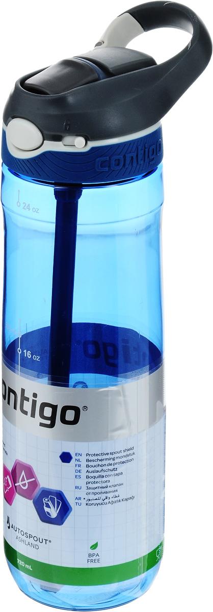 Бутылка для воды Contigo Ashland, цвет: белый, серый, синий, 720 млcontigo0455Бутылка для воды Contigo Ashland изготовлена из высококачественного прозрачного пластика, безопасного для здоровья. Закручивающаяся крышка с герметичным клапаном для питья обеспечивает защиту от проливания. Оптимальный объем бутылки позволяет взять небольшую порцию напитка. Она легко помещается в сумке или рюкзаке и всегда будет под рукой. Изделие имеет мерную шкалу, которая позволит контролировать количество жидкости. Такая идеальная бутылка небольшого размера, но отличной вместимости наполняет оптимизмом, даря заряд позитива и хорошего настроения. Бутылка для воды Contigo Ashland - отличное решение для прогулки, пикника, автомобильной поездки, занятий спортом и фитнесом. Высота бутылки (с учетом крышки): 26,5 см.Диаметр дна: 6,5 см.
