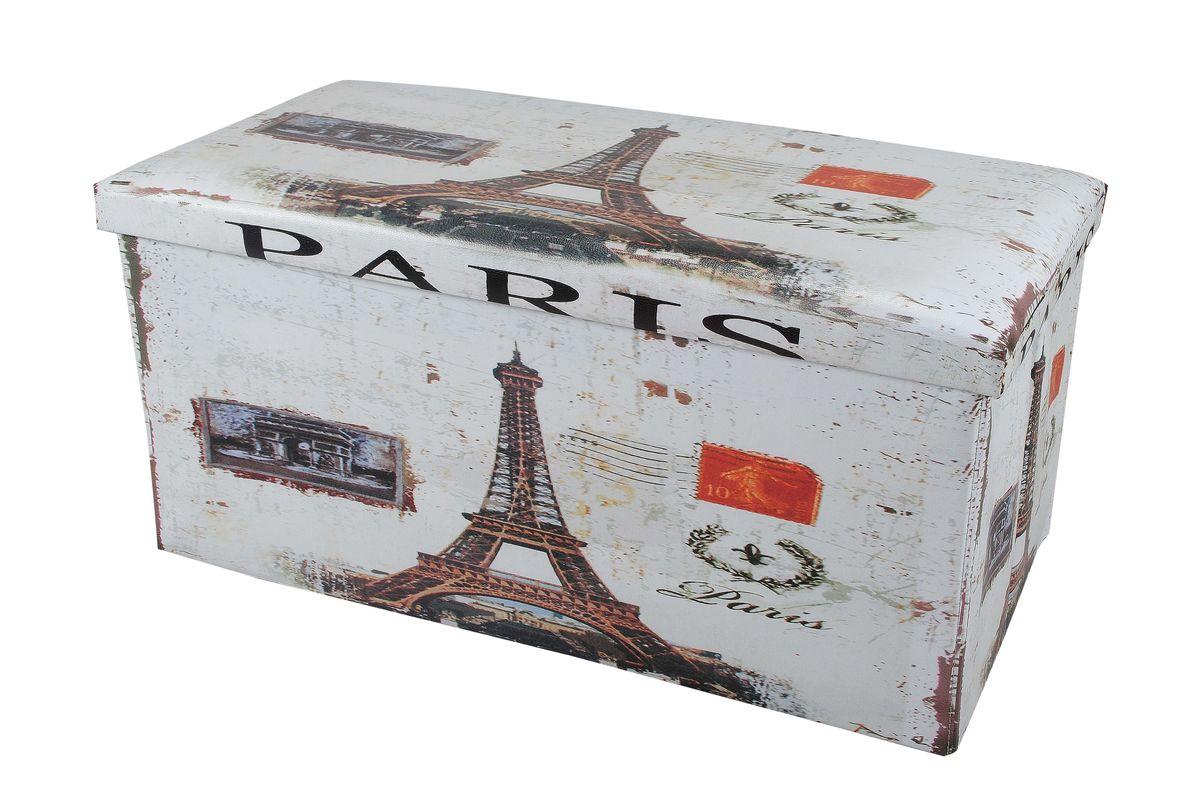 Пуф-короб для хранения HomeMaster Париж, 76 х 38 х 38 смKCTN-CD-2SОчаровательный пуф-короб для хранения HomeMaster Париж - удобный, компактный и стильный предмет интерьера. Изделие отличает актуальный дизайн и многофункциональность. На пуфе комфортно сидеть - он выдерживает вес до 90 кг. Верхняя часть пуфа представляет собой съемную мягкую крышку. Внутри можно хранить небольшие предметы домашнего обихода. Пуф-короб складной, благодаря чему его удобно хранить и перевозить. Такой пуф-короб займет достойное место в вашей гостиной или прихожей, а яркий рисунок с нотками парижских мотивов впишется практически в любой интерьер.