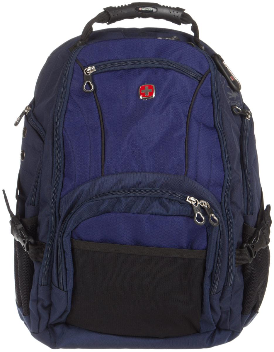 Рюкзак Wenger, цвет: темно-синий, черный. 31813034083181303408Рюкзак Wenger выполнен из высококачественного полиэстера и оформлен фирменной пластинкой с изображением логотипа бренда. На лицевой стороне расположено два кармана на молнии и один накладной карман для мелочей. Изделие оснащено боковыми карманами для бутылок. Рюкзак имеет удобные эргономичные широкие лямки, длину которых можно изменять с помощью пряжек. Стягивающие боковые ремни позволяют регулировать объем рюкзака, а также ужимать багаж. Спинка оснащена системой циркуляции воздуха. Рюкзак имеет одно отделение и застегивается с помощью застежки-молнии. Внутри расположено два отделения с мягкими стенками для планшета и ноутбука с максимальной диагональю экрана 15. Также рюкзак имеет карманы, предназначенные для хранения мелких предметов, кармашки с кольцом для ключей, для ручек, мобильного телефона и карт памяти.