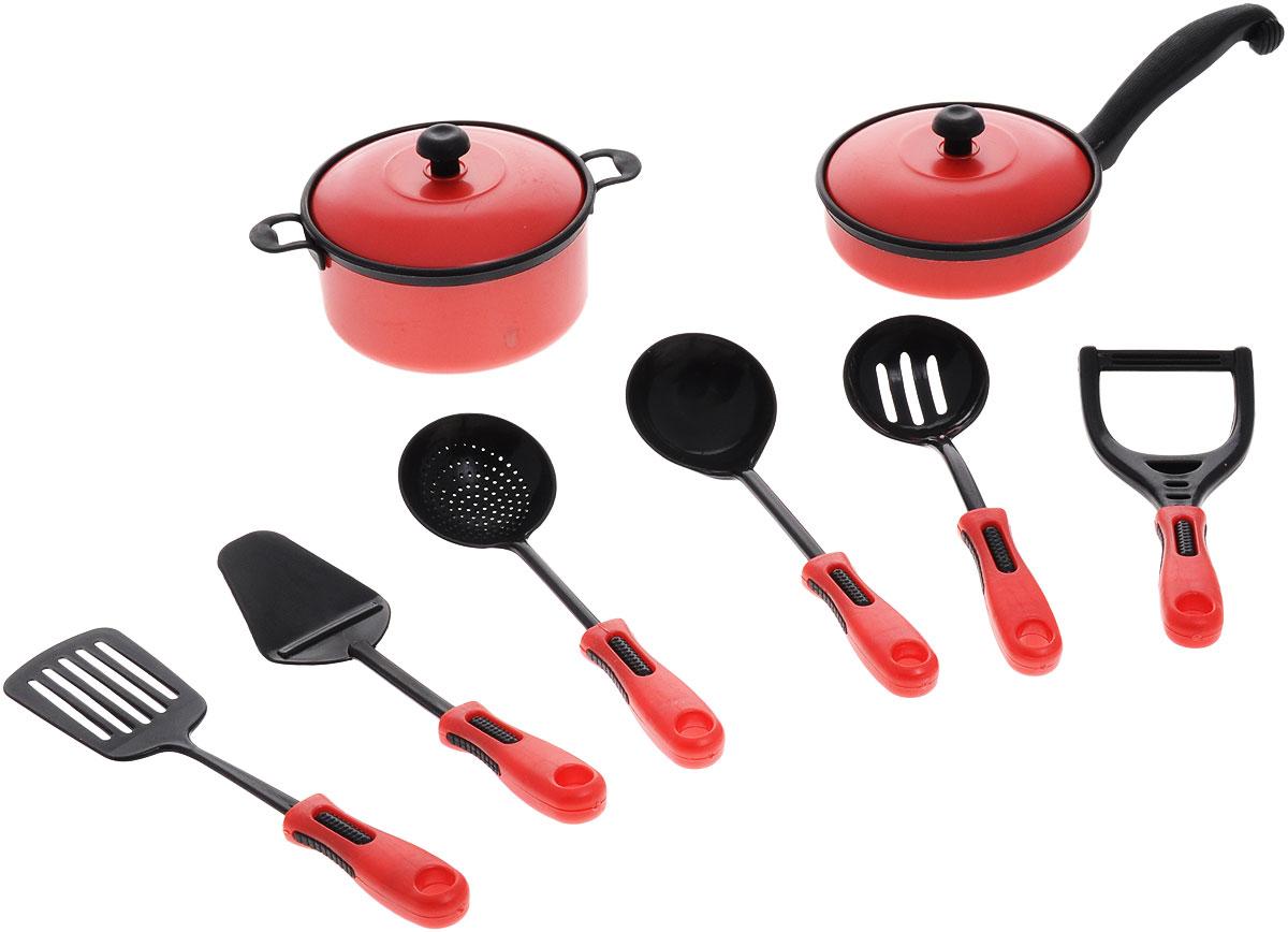 ABtoys Набор кухонный 10 предметов цвет красный abtoys игрушечный музыкальный руль цвет черный желтый красный