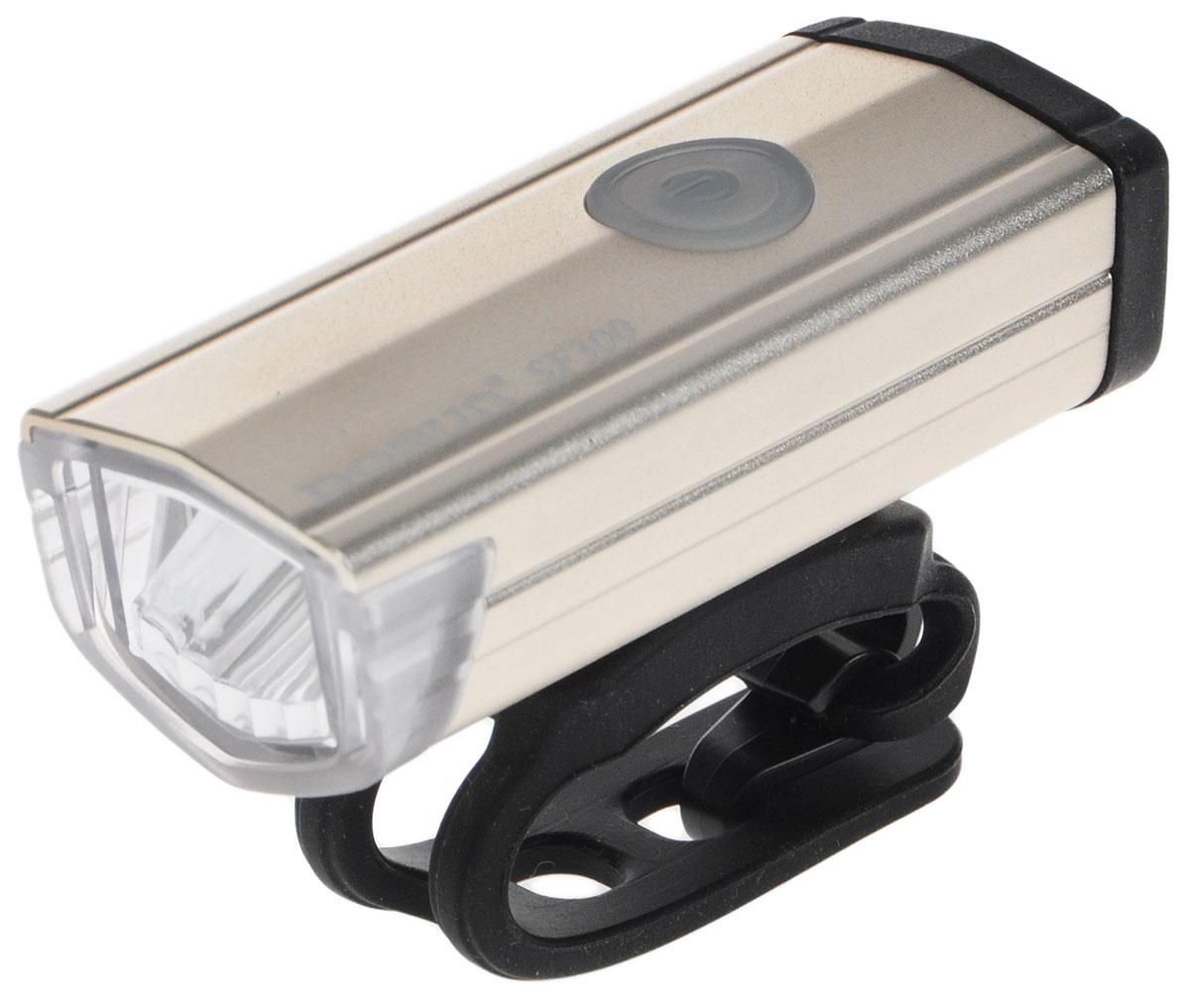 Фара велосипедная Dosun SF300, цвет: серебристый, черный7292Надежная и удобная в эксплуатации фара Dosun SF300 предназначена для обеспечения большей безопасности при поездках в темное время суток. Заряжается от компьютера при помощи USB кабеля (входит в комплект). Оснащена ярким светодиодом мощностью 300 Лм. Устанавливается на основание диаметром 20-40 мм. Имеет прочный алюминиевый водонепроницаемый корпус, устойчивый к царапинам. Удобная конструкция фары позволяет быстро устанавливать ее на руль или снимать. Фара работает в 5 режимах: 3 вида яркости, мигание, быстрое мигание.Время свечения в разных яркостях: 1 ч, 3 ч, 6 ч.Время мигания: 12 ч.Время быстрого мигания: 60 ч.Время зарядки: 2,5 ч.Размер фары (без учета крепления): 6,7 х 2,7 х 2,2 см.