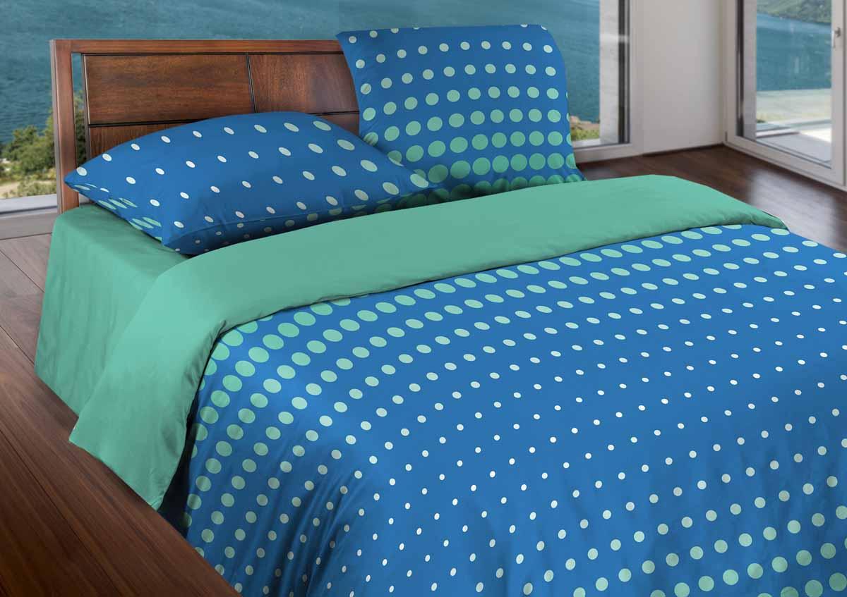 Комплект белья Wenge Dot Sea Blue, 1,5-спальный, наволочки 70х701515150000061Бязевое постельное белье состоит из 100% хлопка самого простого полотняного переплетения из достаточно толстых, но мягких нитей. Стоит постельное белье из этой ткани не намного дороже поликоттона или полиэфира, но приятней на ощупь и лучше пропускают воздух. Благодаря современным технологиям окраски, простыни не теряют свой цвет даже после множества стирок. По своим свойствам бязь уступает сатину, что окупается низкой стоимостью и неприхотливостью в уходе.