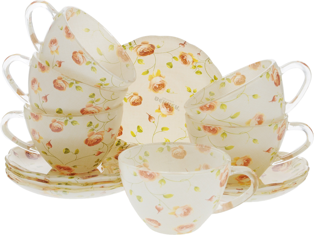 Набор чайный Bekker Koch, 12 предметов. BK-5855VT-1520(SR)Чайный набор Bekker Koch состоит из шести чашек и шести блюдец. Предметы набора изготовлены из прочного натрий-кальций-силикатного стекла и декорированы цветочным рисунком. Изящный чайный набор великолепно украсит стол к чаепитию и порадует вас и ваших гостей ярким дизайном и качеством исполнения.Не рекомендуется мыть в посудомоечной машине.Диаметр чашки (по верхнему краю): 9 см.Высота чашки: 6 см.Объем чашки: 200 мл.Диаметр блюдца: 13,5 см.Высота блюдца: 2 см.