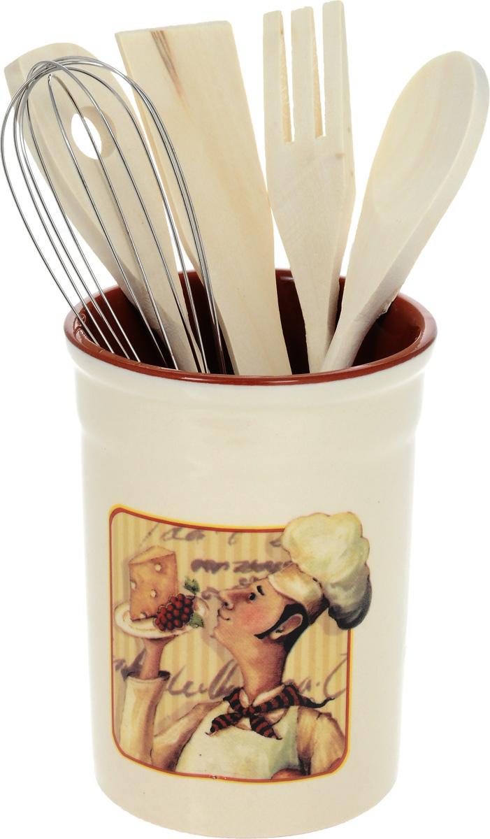 Набор кухонных принадлежностей Terracotta Шеф-повар, с подставкой, 6 предметов54 009312Набор Terracotta Шеф-повар состоит из ложки кулинарной, вилки, венчика, лопатки и подставки. Подставка выполнена из высококачественной керамики и декорирована ярким цветочным узором. Дизайн, эстетичность и функциональность подставки позволят ей стать достойным дополнением к кухонному инвентарю. Вилка, лопатка и ложка изготовлены из натурального дерева, а венчика - из металла. Данный набор придаст вашей кухне элегантность, подчеркнет индивидуальный дизайн и превратит приготовление еды в настоящее удовольствие.Размер подставки: 10 х 10 х 13,5 см.Длина венчика: 25 см.Размер рабочей части венчика: 5,5 х 13 см.Длина кулинарной ложки: 25,5 см.Размер рабочей части кулинарной ложки: 4 х 6 см.Длина вилки: 26 см.Размер рабочей части вилки: 9 х 3,2 см.Длина лопатки: 25 см.Размер рабочей части лопатки: 4 х 7,5 см.