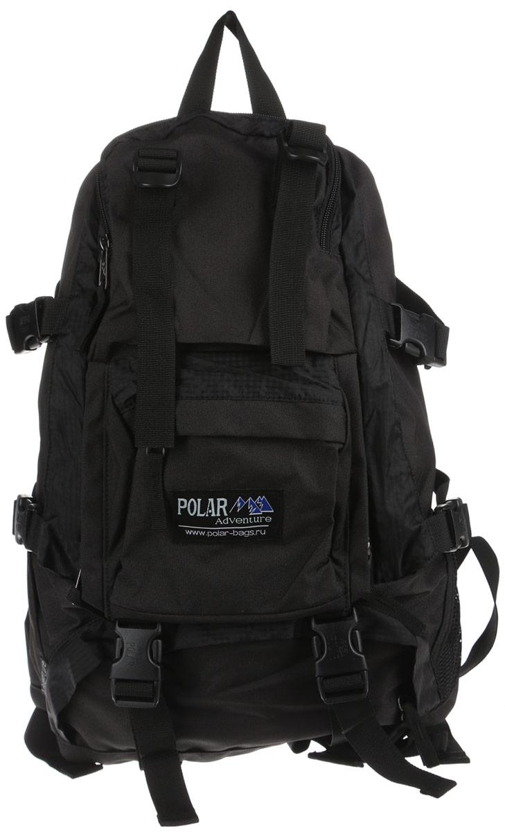Рюкзак городской Polar, 16 л, цвет: черный. П956-0580072Удобный вместительный рюкзак для всего самого необходимого на отдыхе. Жесткая спинка и удобные лямки повторяющие форму плеча с дополнительной грудной и поясничной стяжками позволяет уменьшить нагрузку на спину и сделает ваш отдых максимально комфортным. Большое отделение с дополнительным карманом на молнии (кошелек, документы) внутри. С внешней стороны расположены стяжки для регулирования объема. Два боковых кармана (правый на молнии, левый из сетки), карман для обуви, три небольших кармана для мелких вещей, один из которых с клапаном и двумя вертикальными молниями застежками и дополнительными отделениями. Рюкзак выполнен из прочного полиэстера с водоотталкивающей пропиткой.