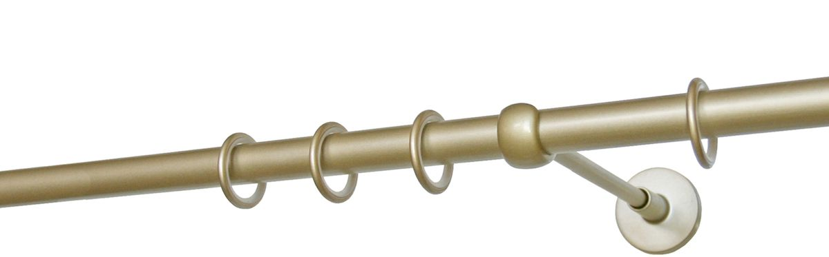Карниз однорядный Уют Ост, металлический, составной, цвет: шампань, диаметр 20 мм, длина 3,2 мS03301004Круглый карниз Уют Ост выполнен из цинко-алюминиевого сплава с гальваническим покрытием. Подходит для использования одного вида занавесей. Поверхность гладкая. Способ крепления настенное. Возможно сочетание штанг различных диаметров и цветов. В комплект входят 2 штанги, соединитель, 3 кронштейна с крепежом и 32 кольца с крючками. Наконечникиприобретаются дополнительно.Такой карниз будет органично смотреться в любом интерьере.Диаметр карниза: 20 мм.