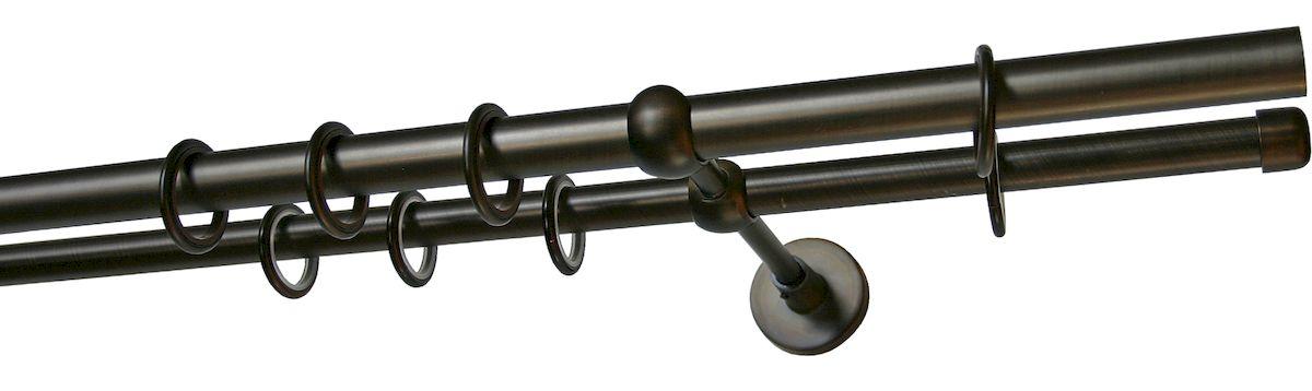 Карниз двухрядный Уют Ост, металлический, составной, цвет: шоколад, диаметр 25 мм, длина 3,2 м26.02ТО.654К.320Двухрядный круглый карниз Уют Ост выполнен из цинко-алюминиевого сплава с гальваническим покрытием. Подходит для использования двух видов занавесей. Поверхность гладкая. Способ крепления настенное. Возможно сочетание штанг различных диаметров и цветов. В комплект входят 4 штанги, 2 соединителя, 3 кронштейна с крепежом и 64 кольца с крючками. Наконечникиприобретаются дополнительно.Такой карниз будет органично смотреться в любом интерьере.Диаметр карниза: 25 мм.