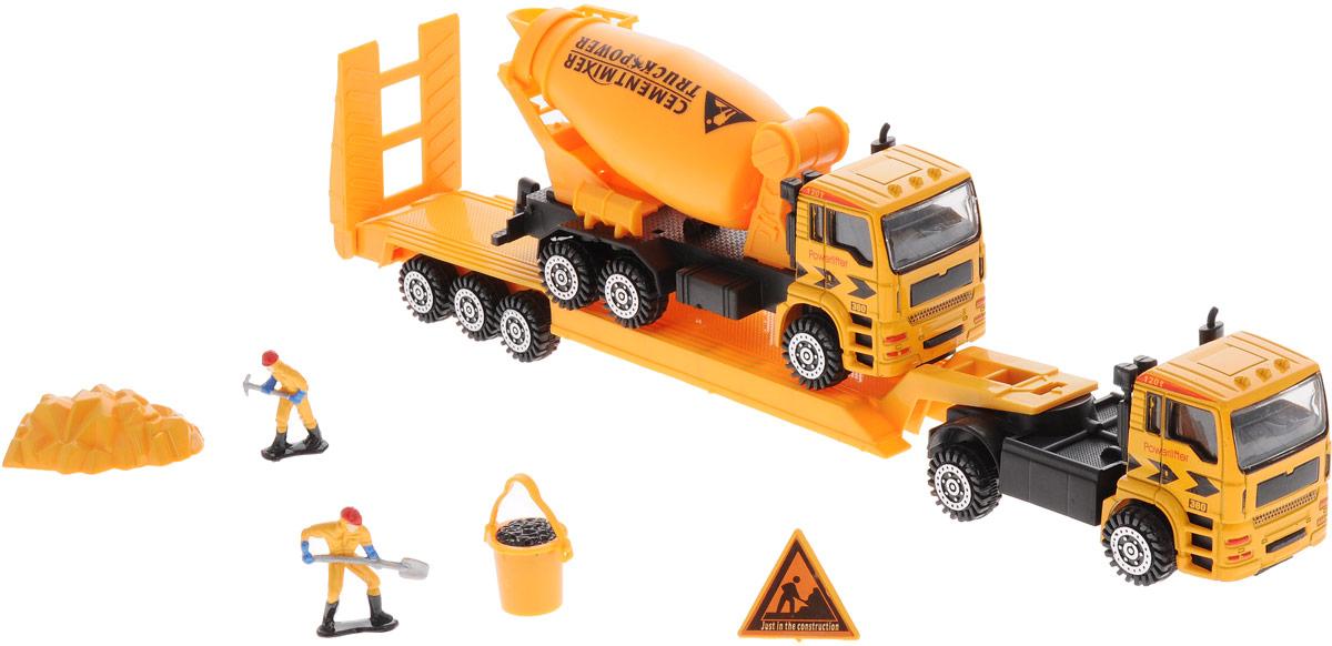 Junfa Toys Автовоз инерционный с бетономешалкой калодки на полуприцеп нефаз