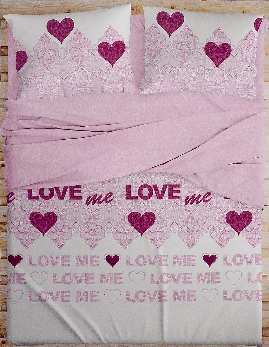 Комплект белья Love Me, 2-спальный, наволочки 50х70, 70х70. 198852391602Комплект белья Love Me состоит из пододеяльника, простыни и четырех наволочек. Изделия выполнены из перкаля. Это настоящая роскошь для любителей понежиться в постели. Перкаль изготавливается только из самого лучшего египетского хлопка. Его нити тонкие и длинные, благодаря чему ткань из него очень плотная и прочная. Перкаль по праву считается самой износостойкой тканью для постельного белья, однако ценят его, прежде всего, за потрясающие тактильные ощущения, сравнимые с прикосновением к лепестку розы. В процессе изготовления ткань проходит дополнительную многоступенчатую обработку и становится такой нежной, что просто ласкает кожу.