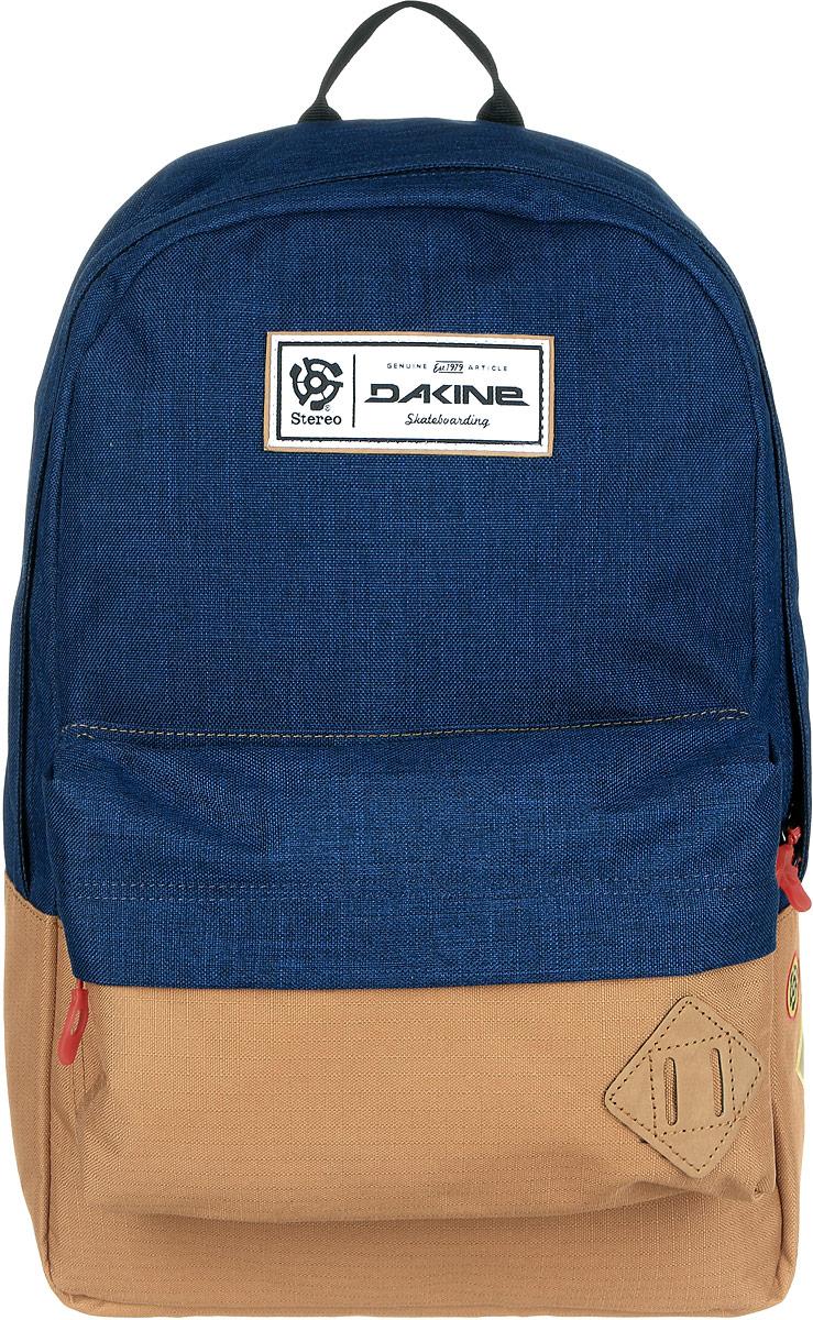 Рюкзак городской Dakine 365 Pack, цвет: темно-синий, светло-коричневый, 21 л95429-924Городской рюкзак Dakine 365 Pack выполнен из высококачественного полиэстера, имеет вместительное основное отделение, в которое с легкостью помещается папка формата A4. В рюкзаке имеется встроенное усиленное отделение для ноутбука и является отличным вариантом для учебы и отдыха! Вместительный карман органайзер с внутренним кармашком для телефона, фронтальный карман на молнии, два боковых кармана для напитков или мелочей - максимальная функциональность. Идеально подходит для ежедневных прогулок и приключений.