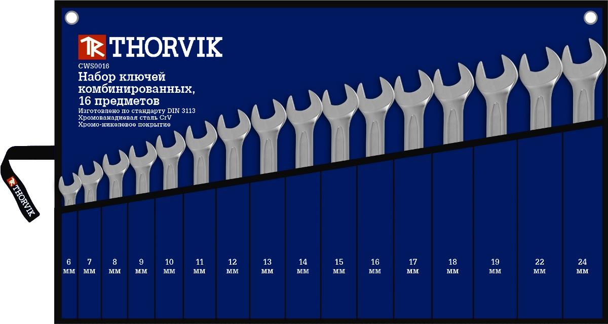 Набор ключей комбинированных в сумке Thorvik 6-24 мм, 16 предметов21395599Состав набора 16 предметов6,7,8,9,10,11,12,13,14,15,16,17,18,19,22,24 ммсумка