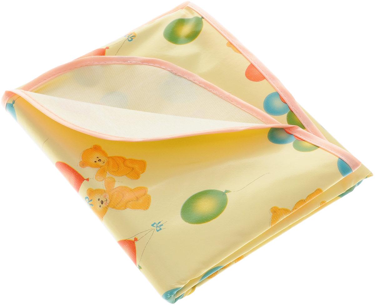 Колорит Клеенка подкладная с резинками-держателями цвет желтый персиковый 70 х 100 см  колорит клеенка подкладная с резинками держателями 100 смх 70 цвет белый