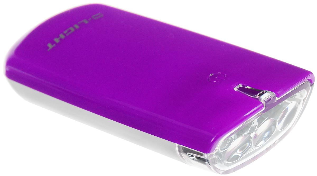 Фара велосипедная D-Light CG-120W, цвет: фиолетовый, белыйCG-120W-PurlpeФара с тремя белыми светодиодами D-Light CG-120W предназначена для обеспечения большей безопасности при поездках в темное время суток. Легко снимается и помещается в кармане. Фара крепится без дополнительных инструментов. Корпус изделия выполнен из прочного пластика, водонепроницаем. Фара имеет 3 режима: мигание, ближний свет, дальний свет.Фонарь питается от 2 батарей типа АА (входят в комплект).Время свечения в режиме дальнего света: 30+ ч.Время свечения в режиме ближнего света: 60+ ч.Время мигания: 120+ ч.Размер фары (без учета крепления): 8,8 х 3,6 х 1,8 см.