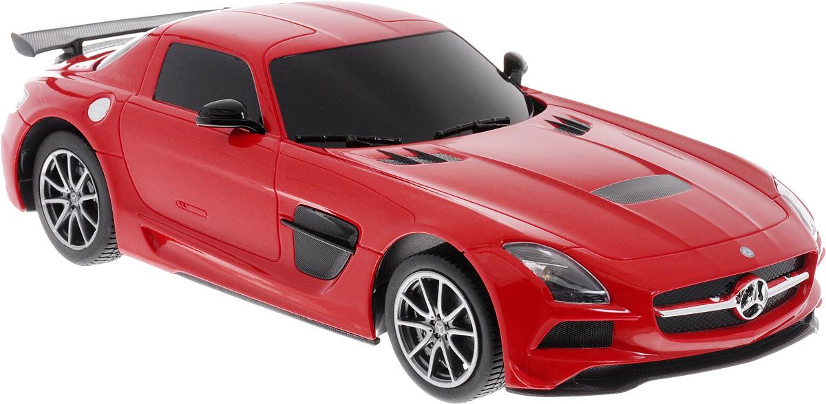 """Радиоуправляемая модель Rastar """"Mercedes-Benz SLS AMG"""", выполненная из прочного пластика с металлическими элементами, является точной уменьшенной копией настоящего автомобиля в масштабе 1:18. Модель привлечет внимание не только ребенка, но и взрослого. Авто при помощи пульта управления движется вперед, назад, поворачивает влево и вправо. Машина обладает высокой стабильностью движения, что позволяет полностью контролировать его процесс, управляя уверенно и без суеты. Модель оснащена световыми эффектами. Такая модель автомобиля станет отличным подарком не только автолюбителю, но и человеку, ценящему оригинальность и изысканность, а качество исполнения представит такой подарок в самом лучшем свете. Радиоуправляемые игрушки способствуют развитию координации движений, моторики и ловкости. Машина работает от 4 батареек типа АА (не входят в комплект). Пульт работает от 2 батареек типа АА (не входят в комплект). Пульт управления работает на..."""